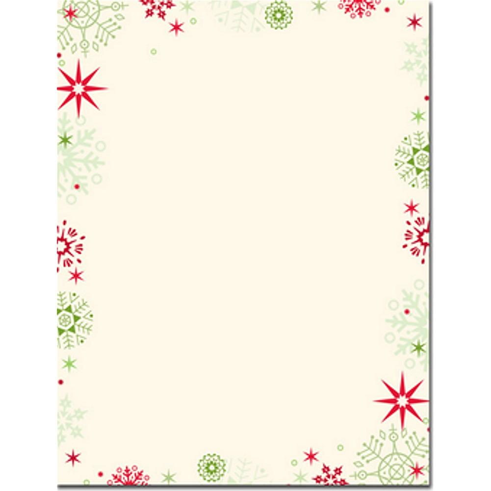 Red and Green Snowflakes Letterhead Sheets, christmas stationery, holiday stationery, christmas letters, snowflake stationery, Stationery & Letterhead