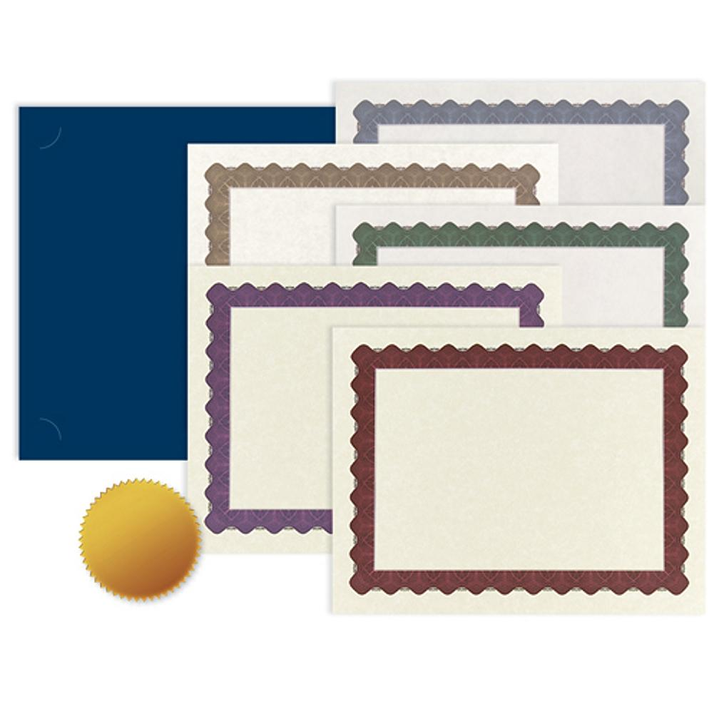 Certificates Kit - Pack of 25 (Includes Metallic Certificates and Gold Foil Certificate Seals), award certificate, blank certificate, blank certificate paper, certificate paper stock, Stationery & Letterhead