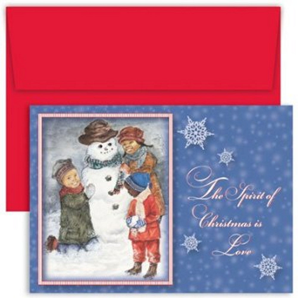 Snowman and Outdoor Fun Boxed Christmas Cards and Envelopes, african american christmas cards, african american holiday cards, afro american christmas cards, african american xmas cards, Christmas & Holiday Items