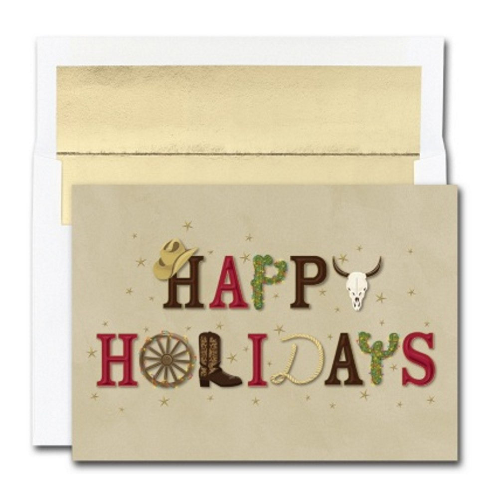 Western Happy Holidays Christmas Cards with Gold Foil Lined Envelopes, western christmas cards, country christmas cards, boxed christmas cards, western theme holiday cards, Greeting Cards