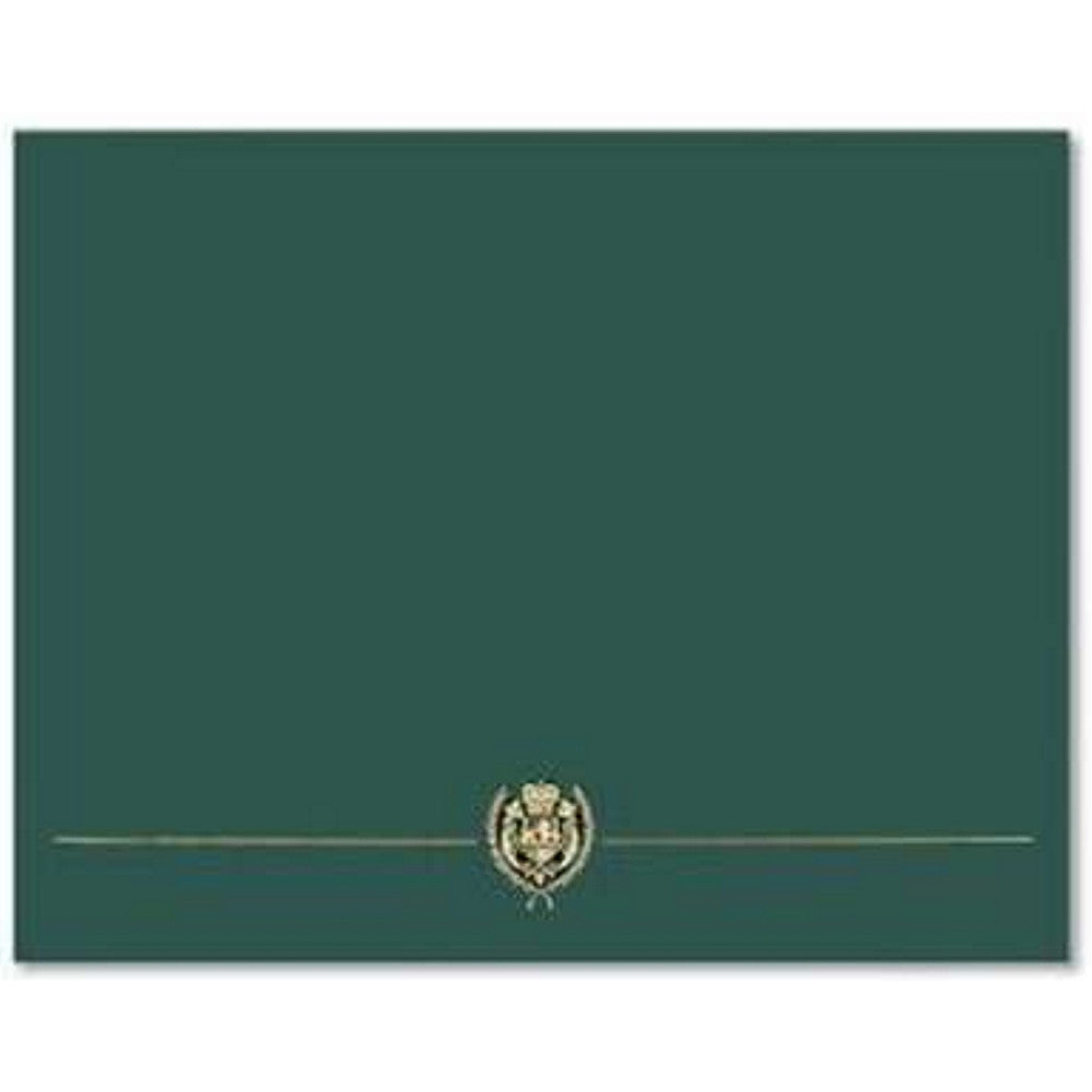 Classic Crest Hunter Green Certificate Covers - Pack of 15 - Sophie's Favors and Gifts