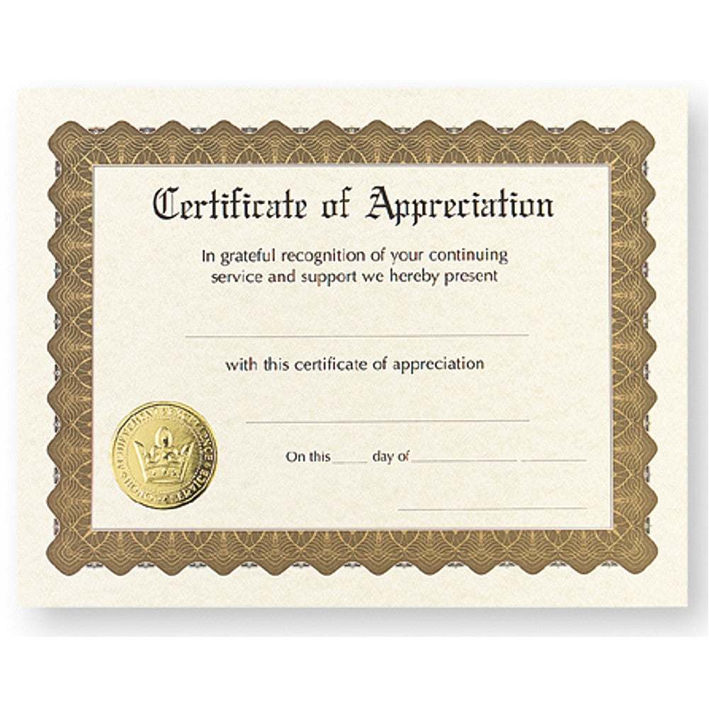Certificate of Appreciation - Sophie's Favors and Gifts