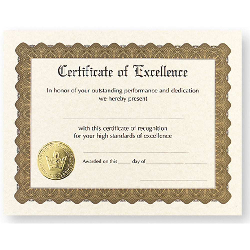Certificate of Excellence - Pack of 12 - Sophie's Favors and Gifts