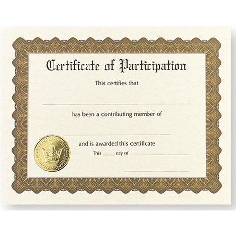 Certificate of Participation, award certificate, blank certificate, blank certificate paper, certificate paper stock, Stationery & Letterhead