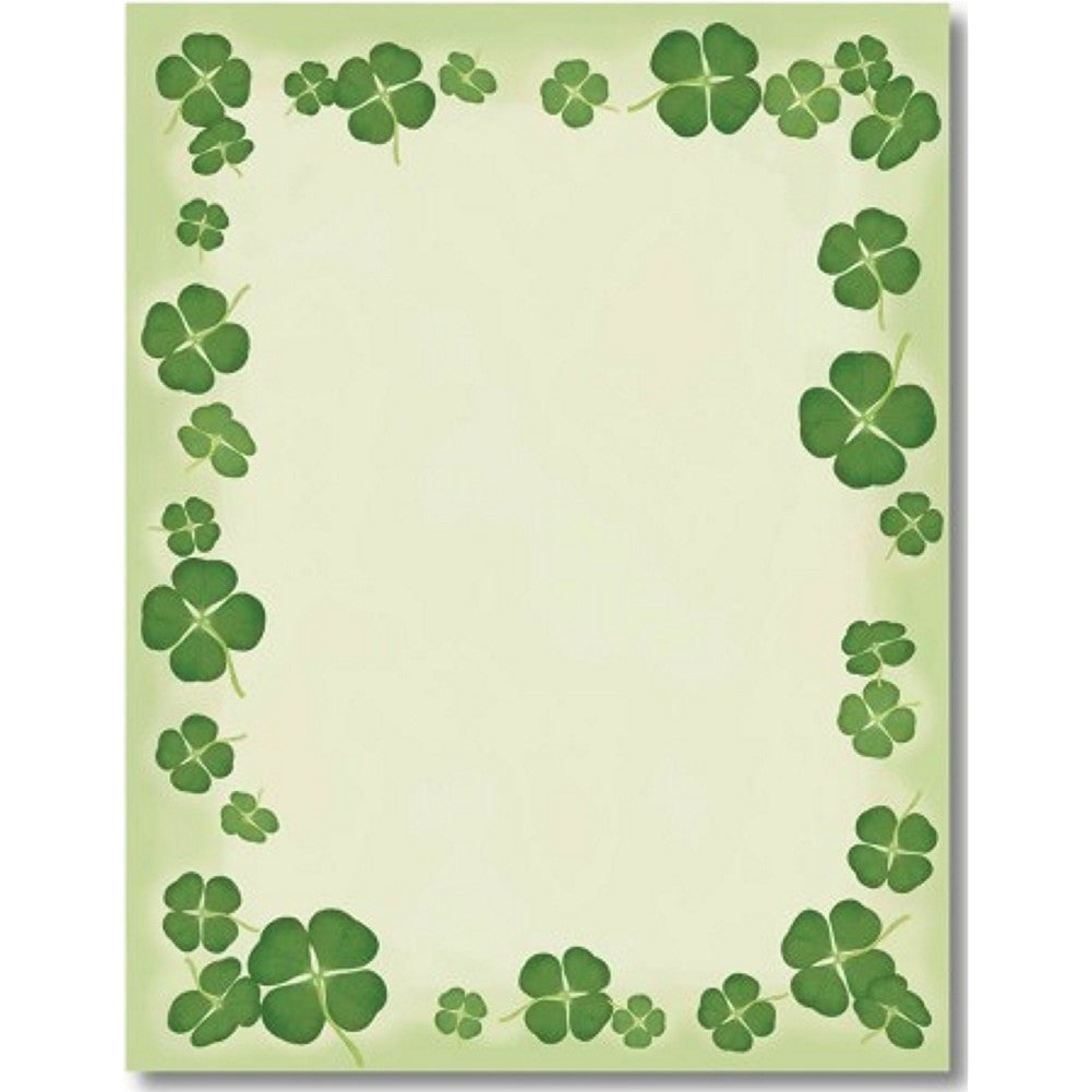 Four Leaf Clovers Letterhead Sheets, st. patricks day stationery, st. patrick day letterhead, st. patricks day party, st. patricks day supplies, Stationery & Letterhead