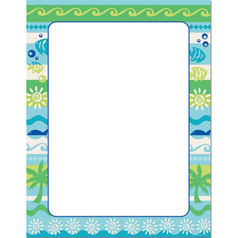 50 Summer Getaway Letterhead Sheets, beach stationery, summer stationery, swimming party, beach party invitations, Stationery & Letterhead