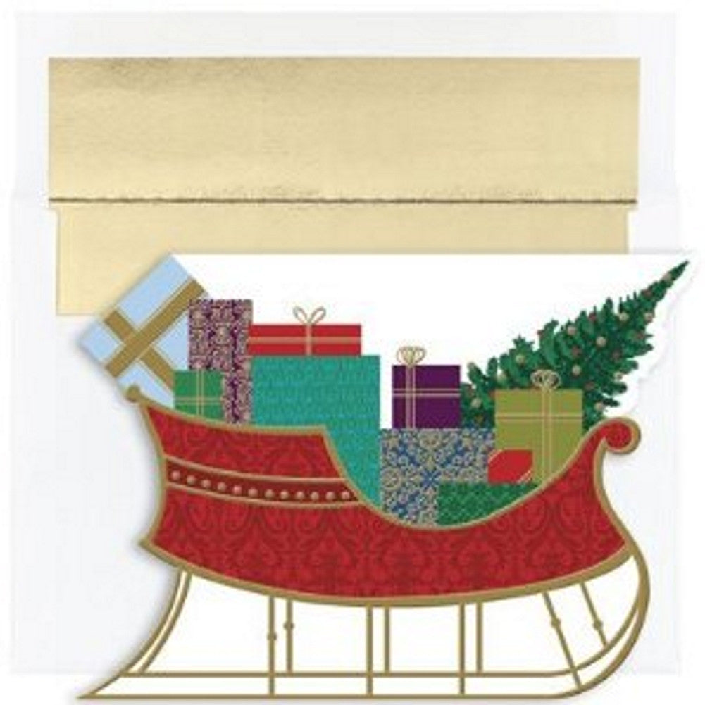 Die Cut Sleigh of Gifts Boxed Christmas Cards and Envelopes, sleigh christmas cards, sleigh xmas cards, classic christmas cards, classic holiday cards, Christmas & Holiday Items