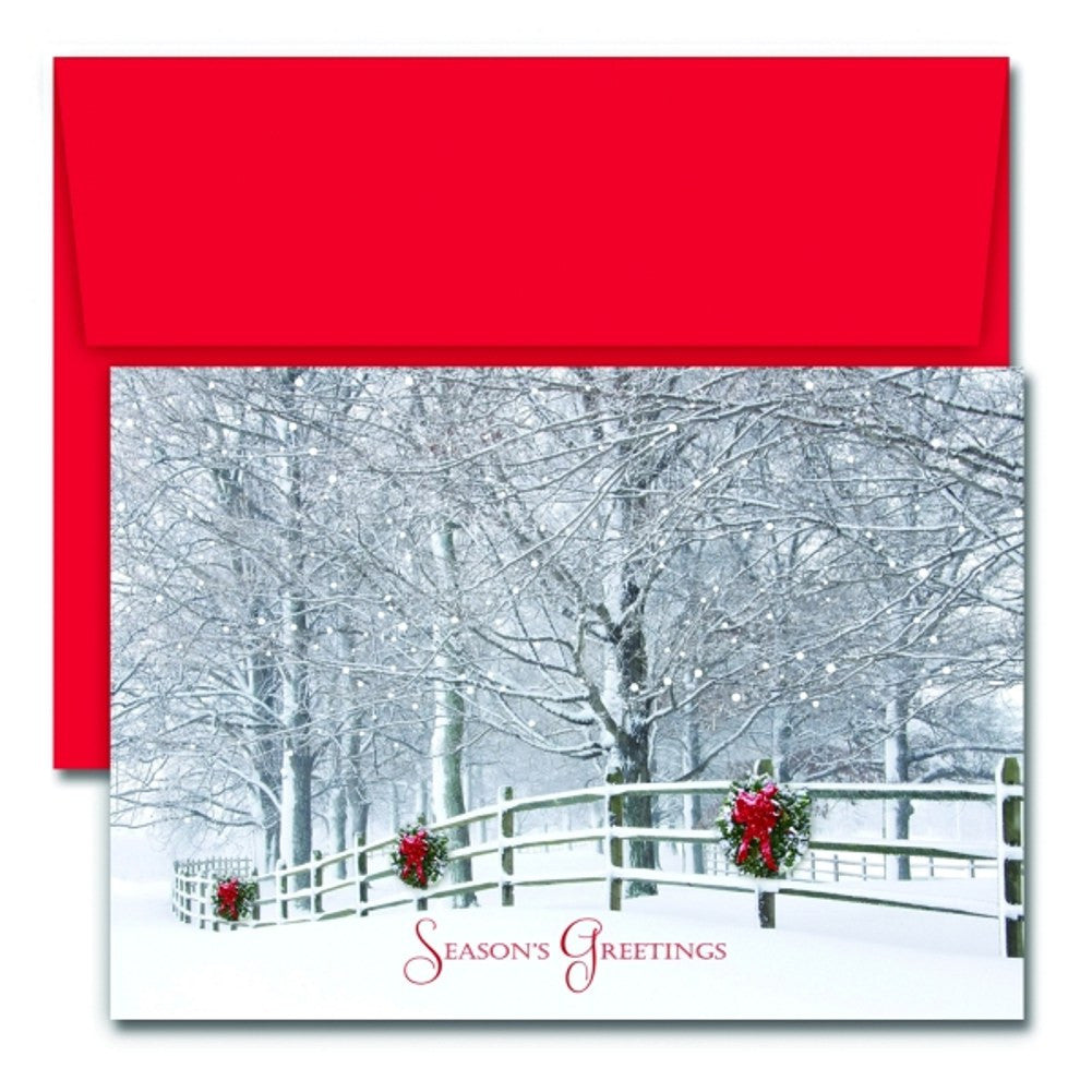 Holiday Fence Holiday Cards With Red Envelopes, unique christmas cards, greeting cards, xmas card, christmas card ideas, Greeting Cards