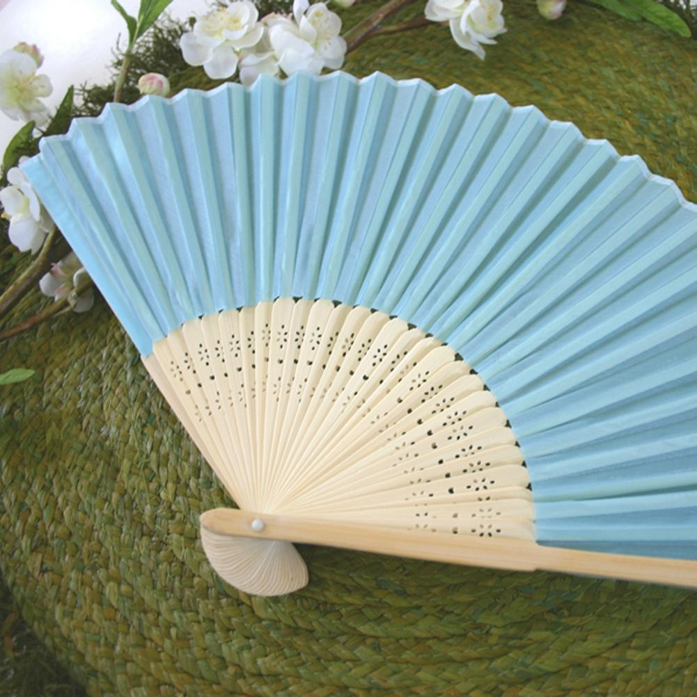Silk Fan - Blue (set of 10) - Sophie's Favors and Gifts