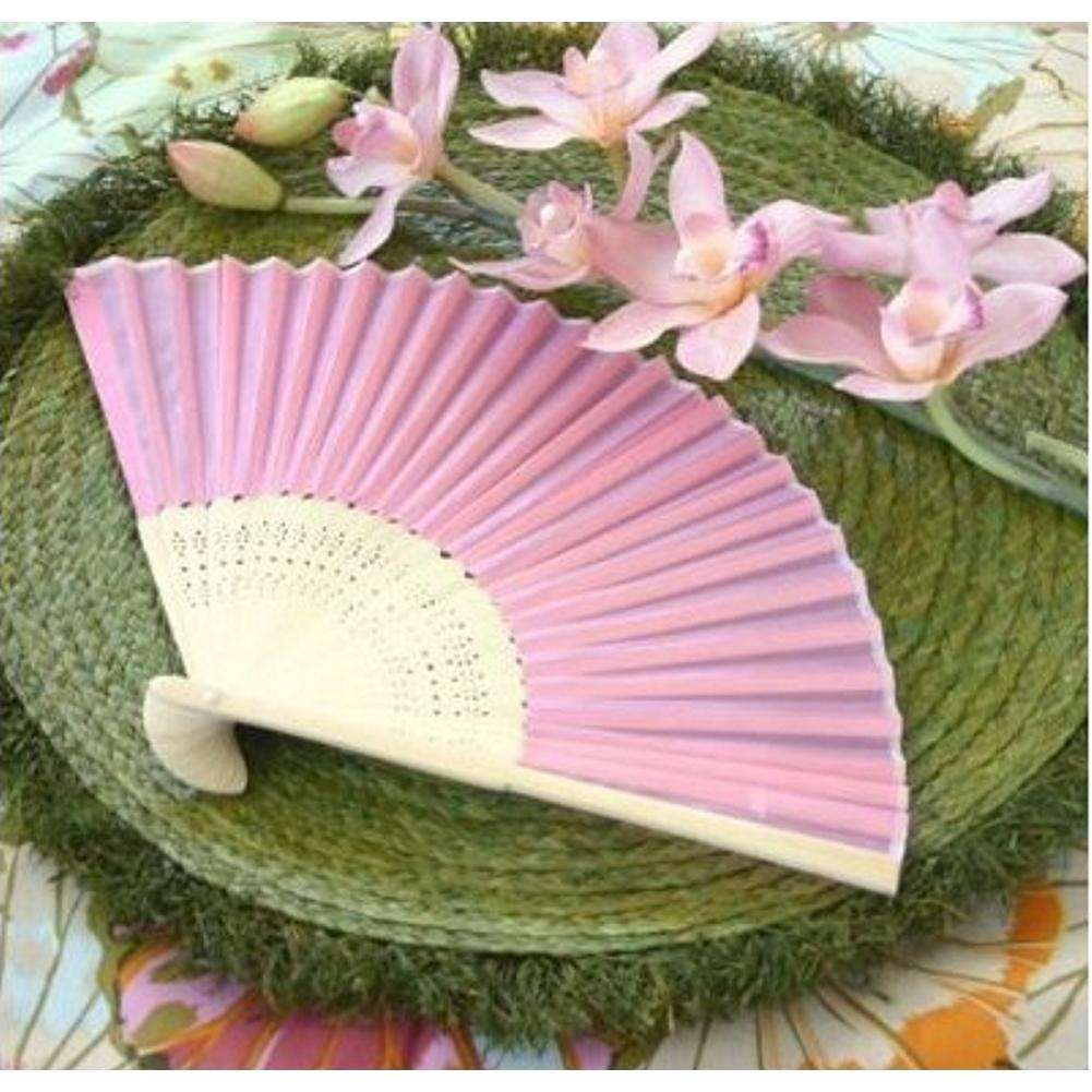 Silk Fan - Pink (set of 10) - Sophie's Favors and Gifts