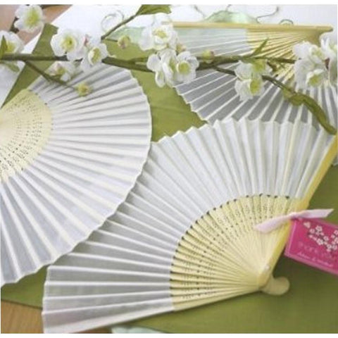 Silk Fan - White (set of 10) - Sophie's Favors and Gifts