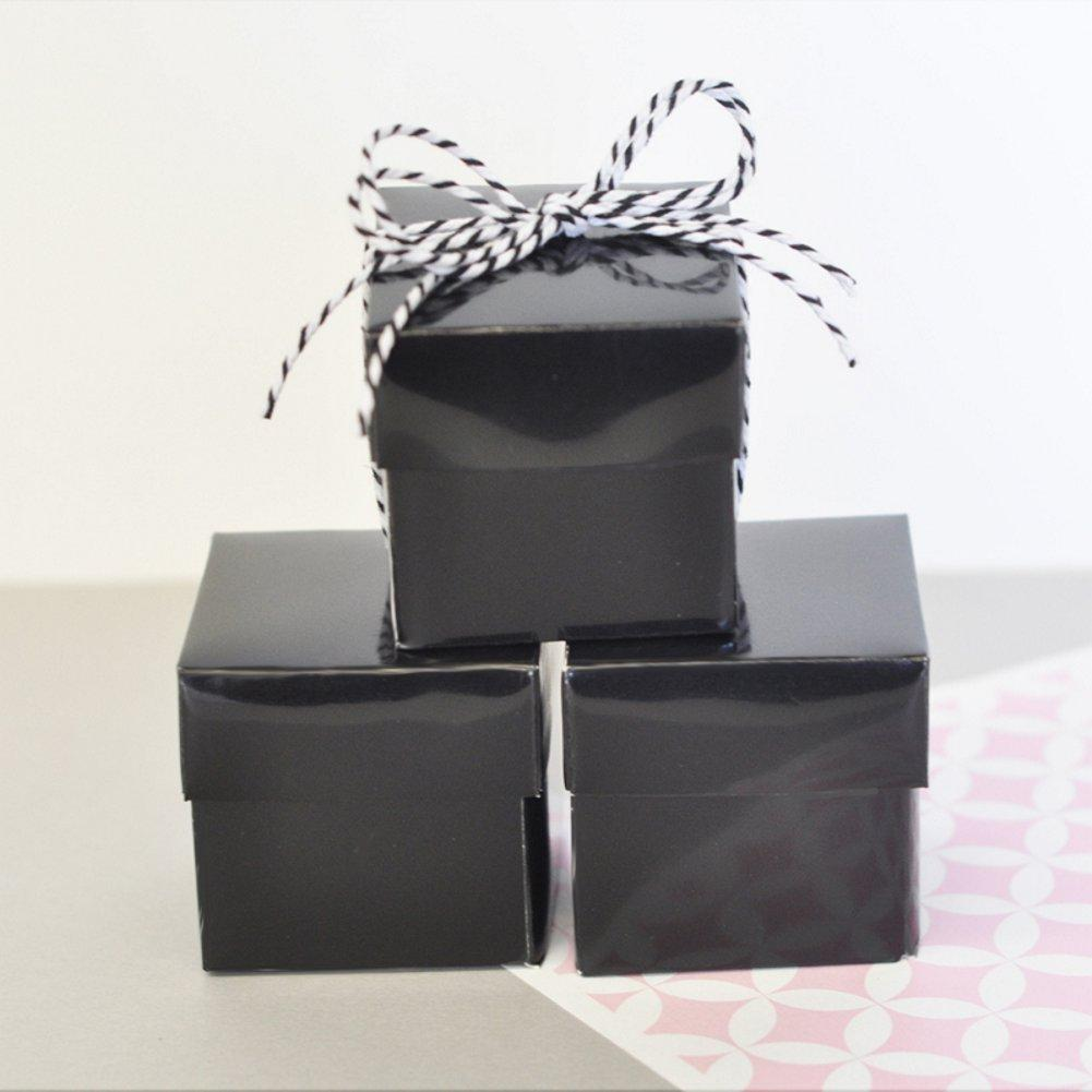 Mini Cube Boxes - Black (Set of 48), black favor box, black favor boxes, black gift box, black two piece box, black candy box, Favor Boxes
