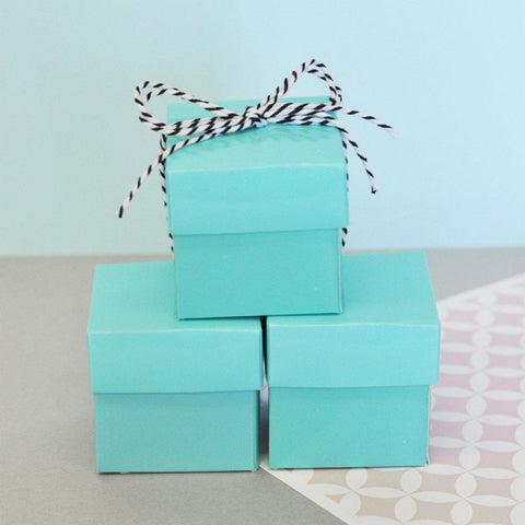 Mini Cube Boxes - Aqua Blue (Set of 48) - Sophie's Favors and Gifts