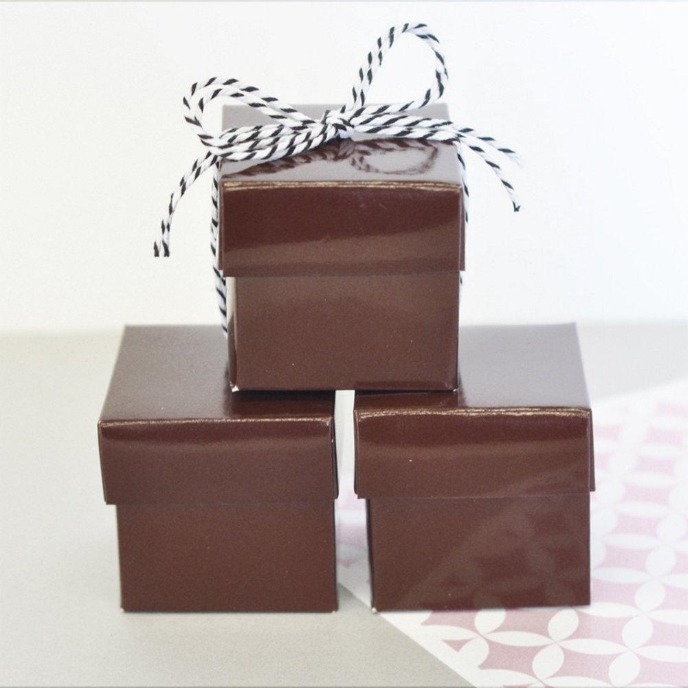 Mini Cube Boxes - Brown (Set of 24), brown favor box, brown favor boxes, brown gift box, brown two piece box, brown candy box, Favor Boxes