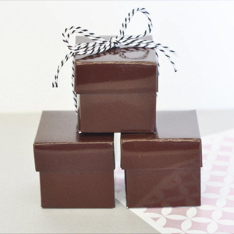 Mini Cube Boxes - Brown (Set of 24) - Sophie's Favors and Gifts