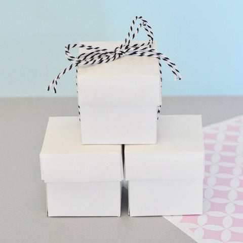 Mini Cube Boxes - White (Set of 48), white favor box, white favor boxes, white gift box, white two piece box, white candy box, Favor Boxes