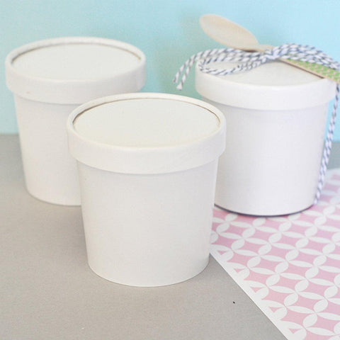 Blank Mini Ice Cream Containers (Set of 20) - Sophie's Favors and Gifts