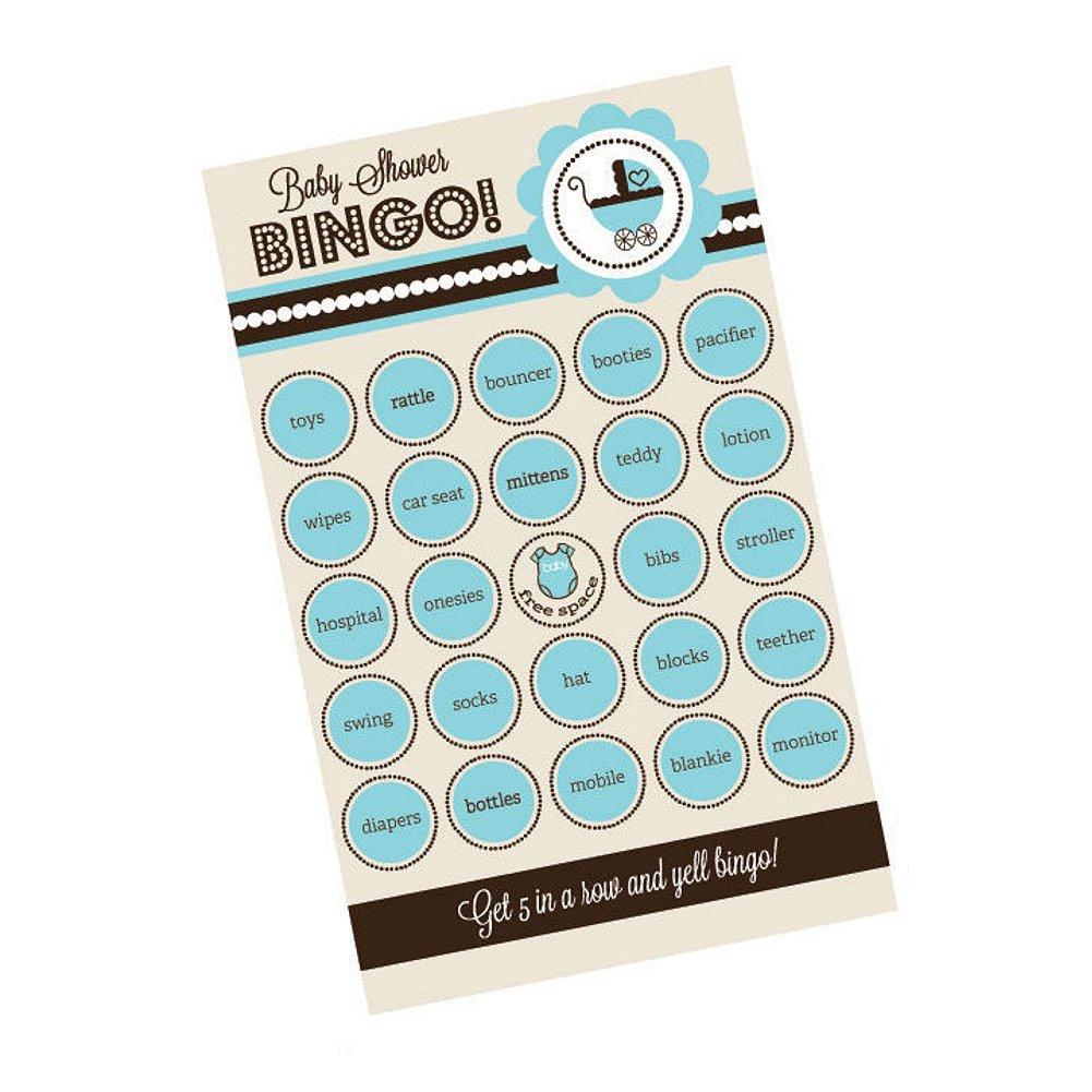 Blue Baby Shower Bingo (Pack of 16 cards), baby shower activity, baby shower game, baby shower bingo, boy baby shower activity, boy baby shower game, Games