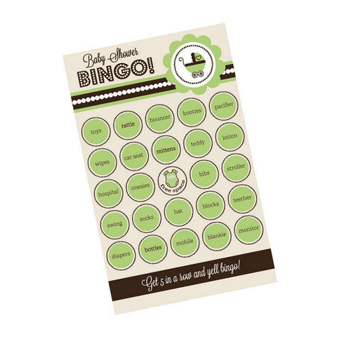 Green Baby Shower Bingo (Pack of 16 cards) - Sophie's Favors and Gifts