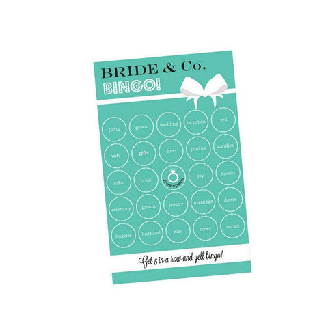 Bride and Co Bingo (Pack of 16 Cards), bridal shower activity, bridal shower game, something blue bridal shower, bride and co theme, Games