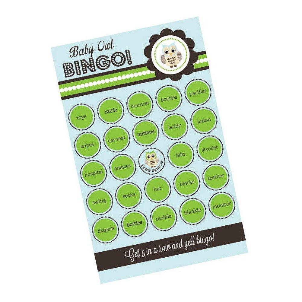 Blue Owl Bingo (Pack of 16 Cards), baby shower activity, baby shower game, owl baby shower, blue baby shower, Games