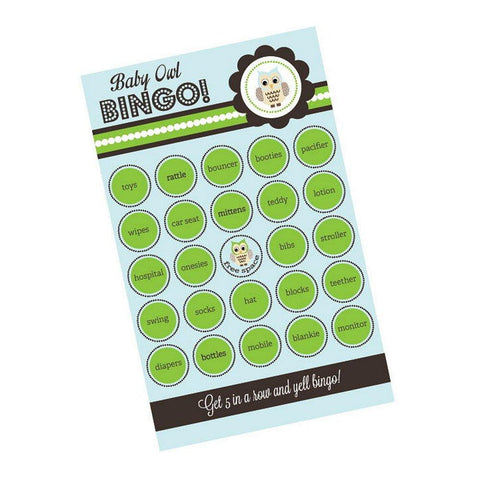 Blue Owl Bingo (Pack of 16 cards), baby shower activity, baby shower game, baby shower bingo, owl baby shower, blue baby shower, Games