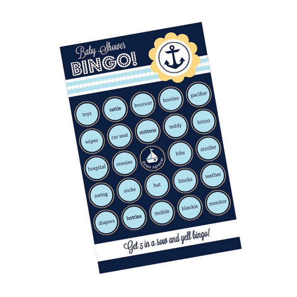 Nautical Baby Shower Bingo (Pack of 16 Cards), baby shower activity, baby shower game, nautical baby shower, game for boy baby shower, Games
