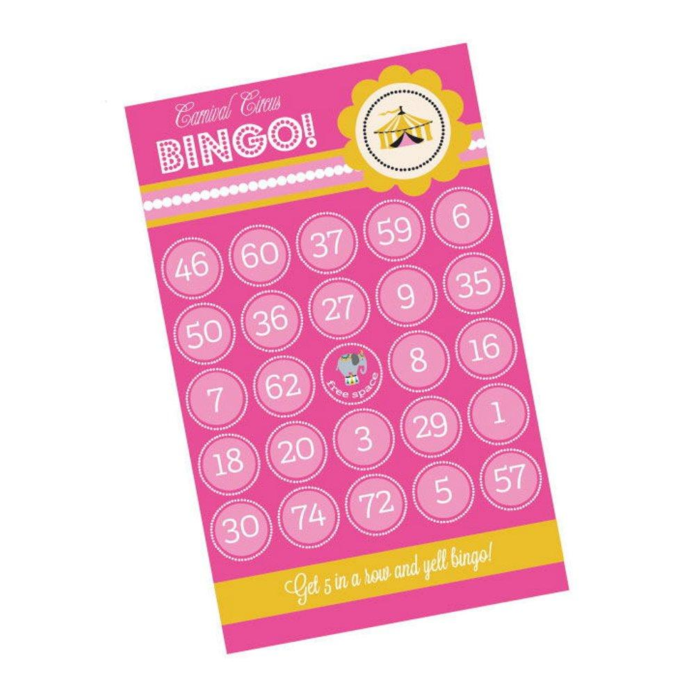 Pink Carnival Circus Birthday Party Bingo (Pack of 16 cards) - Sophie's Favors and Gifts