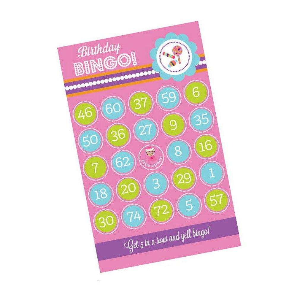 Sweet Shoppe Party Birthday Bingo (Pack of 16 cards) - Sophie's Favors and Gifts