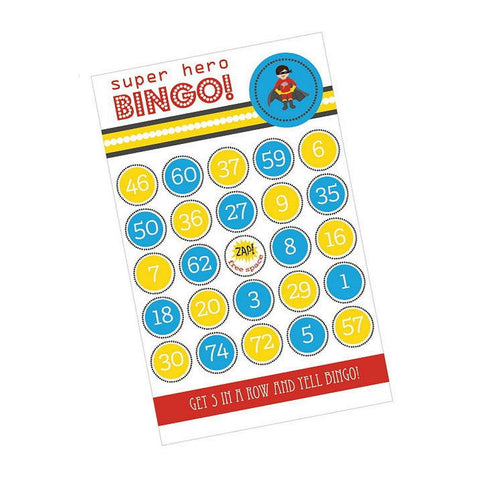 Super Hero Boy Birthday Bingo (Pack of 16 Cards), boy birthday party activity, boy birthday party game, kids birthday party activity, super hero theme, Games