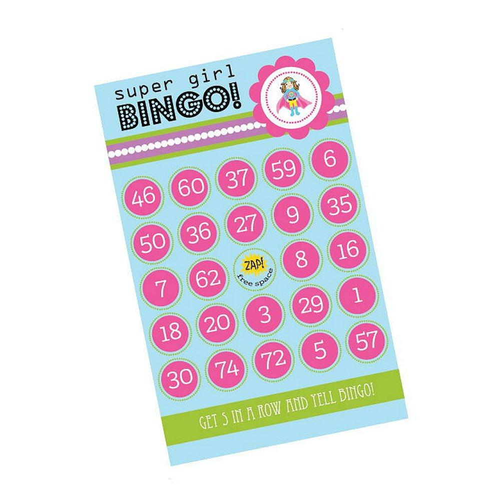Super Hero Girl Birthday Bingo (Pack of 16 Cards), girl birthday party activity, girl birthday party game, kids birthday party activity, super hero theme, Games