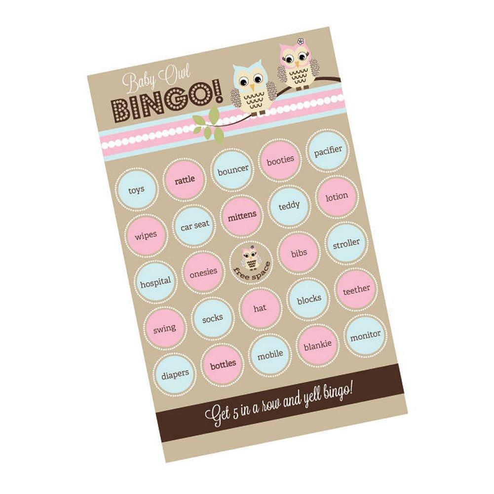 Woodland Owl Bingo (Pack of 16 Cards), baby shower activity, baby shower game, owl baby shower, woodland owl theme, Games