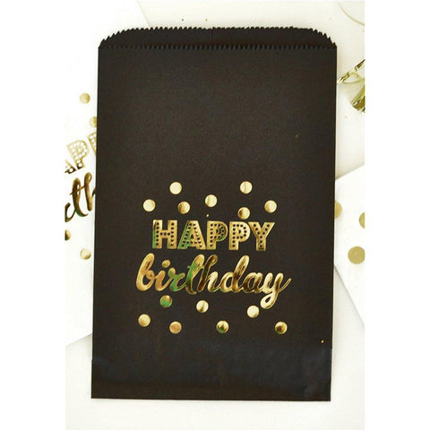 Black Happy Birthday Gold Foil Candy Buffet Bags (set of 96) - Sophie's Favors and Gifts