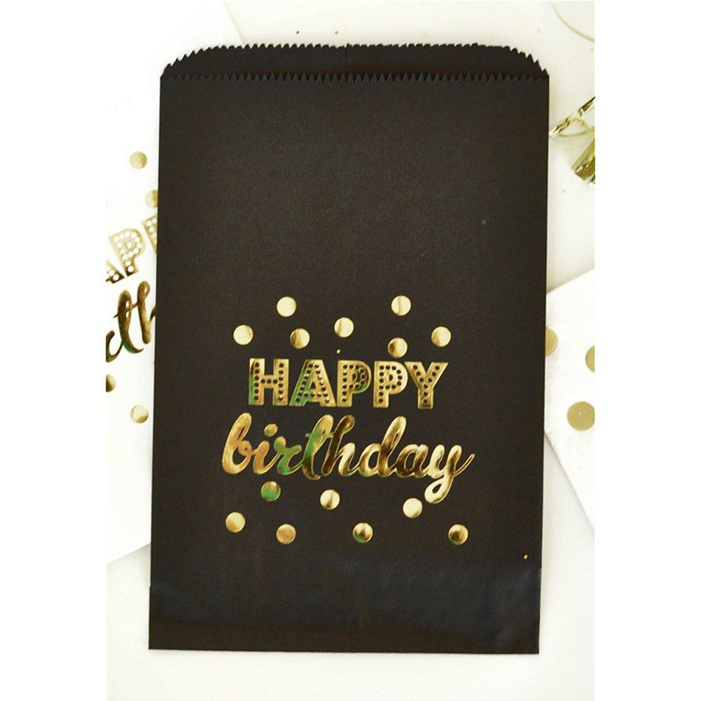 Black Happy Birthday Gold Foil Candy Buffet Bags (set of 60), black gold favor bags, black gold theme, black gold favors, black gold birthday, black gold decorations, Favor Bags