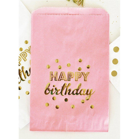 Pink Happy Birthday Gold Foil Candy Buffet Bags (set of 12) - Sophie's Favors and Gifts