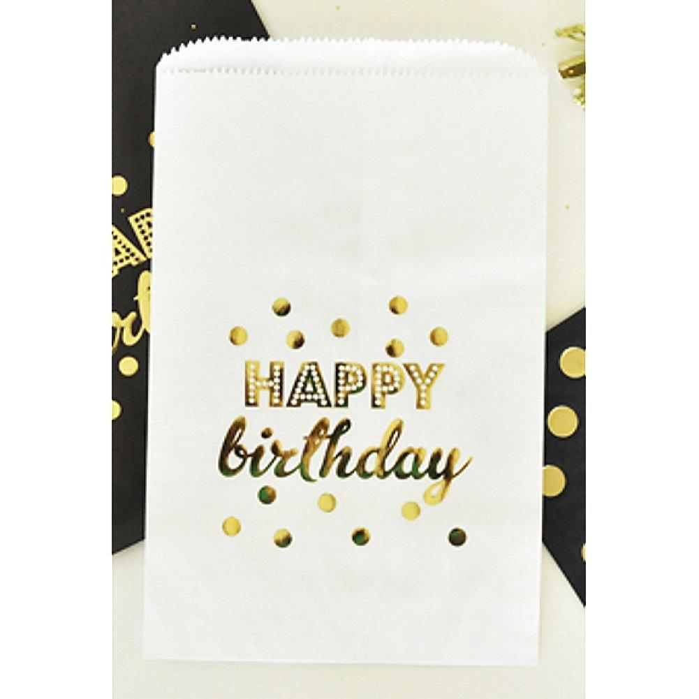 White Happy Birthday Gold Foil Candy Buffet Bags (set of 12) - Sophie's Favors and Gifts