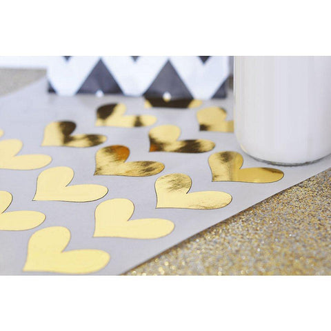 Gold Foil Heart Stickers (Set of 48), heart stickers, heart seals, heart labels, heart tags, gold stickers, Adhesive Labels & Seals