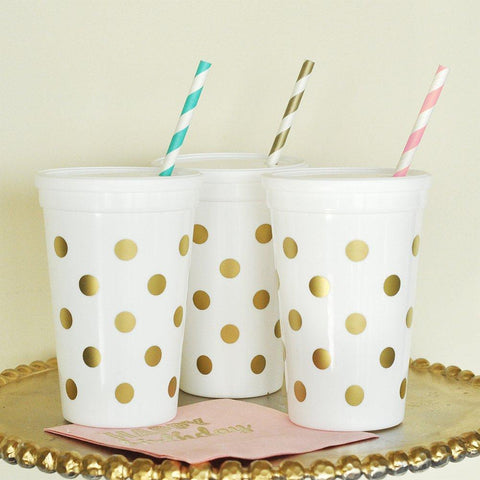 White and Gold Polka Dot Party Cups with Lids (Set of 25), gold cups, gold partyware, gold party ware, gold party decorations, Table Decorations & Centerpieces