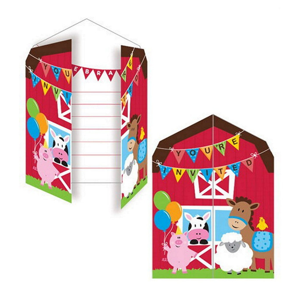 Farmhouse Birthday Party Invitations With Red Envelopes - 4in. x 6in. - 8 Pack - Sophie's Favors and Gifts