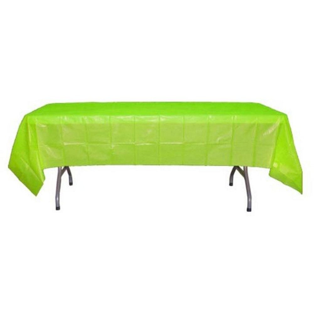 Lime Green Plastic Disposable Table Cover (Rectangluar - 54in. W x 108in. L), lime table cover, green table cover, lime green decorations, lime green theme, Table Decorations & Centerpieces