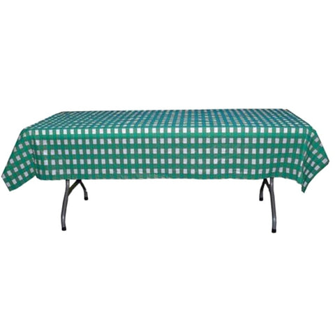 Teal and White Checkerboard Plastic Disposable Table Cover (Rectangluar - 54in. W x 108in. L) - Sophie's Favors and Gifts