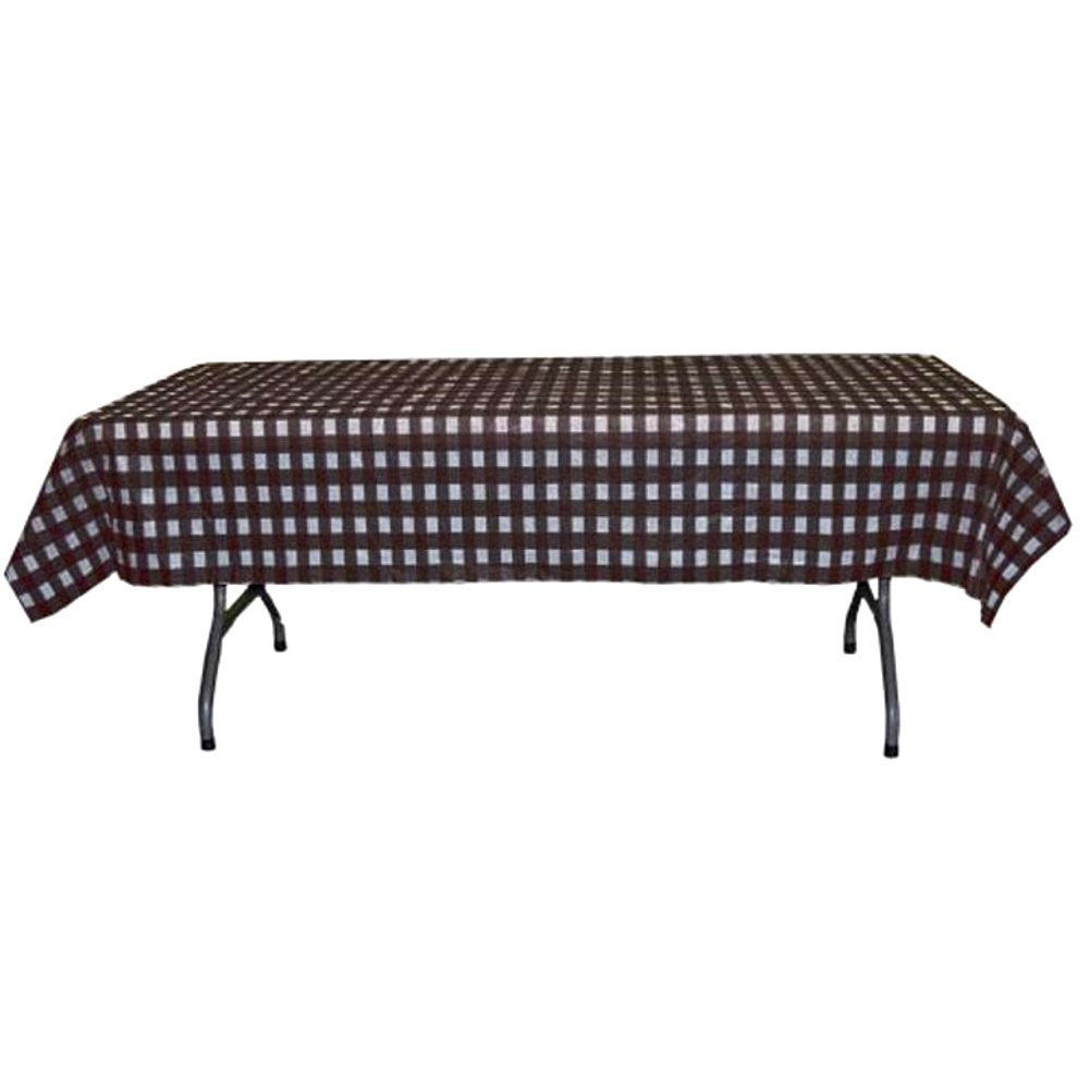Black and White Checkerboard Plastic Disposable Table Cover (Rectangluar - 54in. W x 108in. L), black white table cover, black white table cloth, black white gingham table cloth, black white party decorations, Table Decorations & Centerpieces