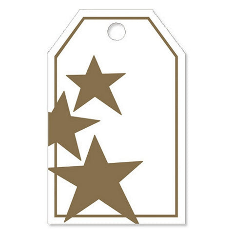 Gold Stars Gloss Printed Gift Tags - 2 1/4in. x 3 1/2in. - 50 Pack - Sophie's Favors and Gifts