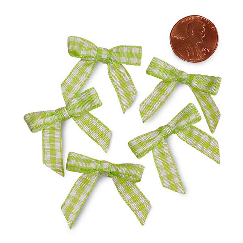 Green and White Pre-Tied Tiny Gingham Checkered Bows - 1 3/16in. x 1 1/4in. - 25 Pack - Sophie's Favors and Gifts