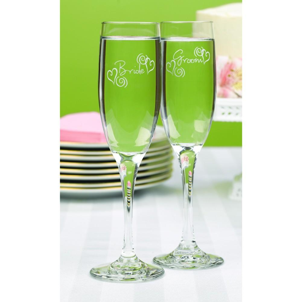 Swirl Hearts Bride and Groom Toasting Flutes - Sophie's Favors and Gifts