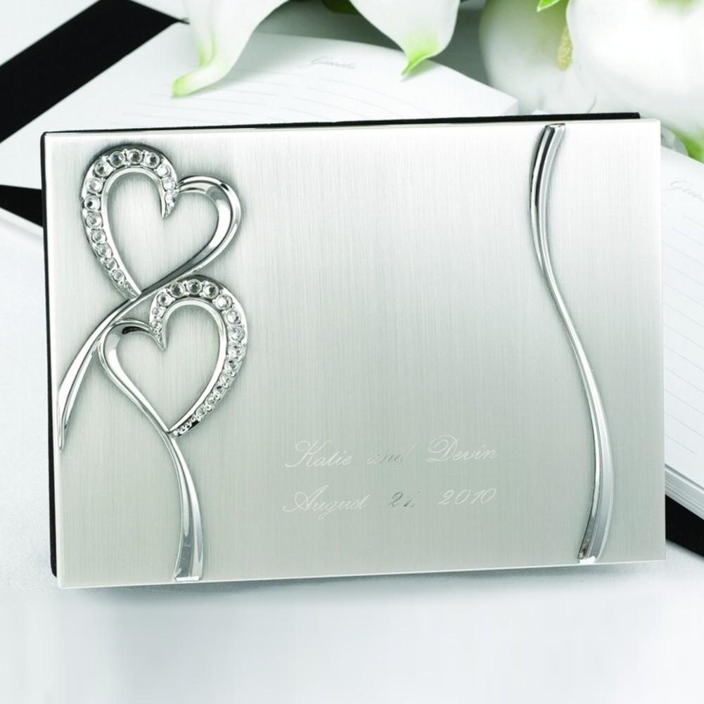 Sparkling Love Silver Plated Guest Book, silver guest book, silver guestbook, silver signin book, heart guest book, Guest Books & Albums