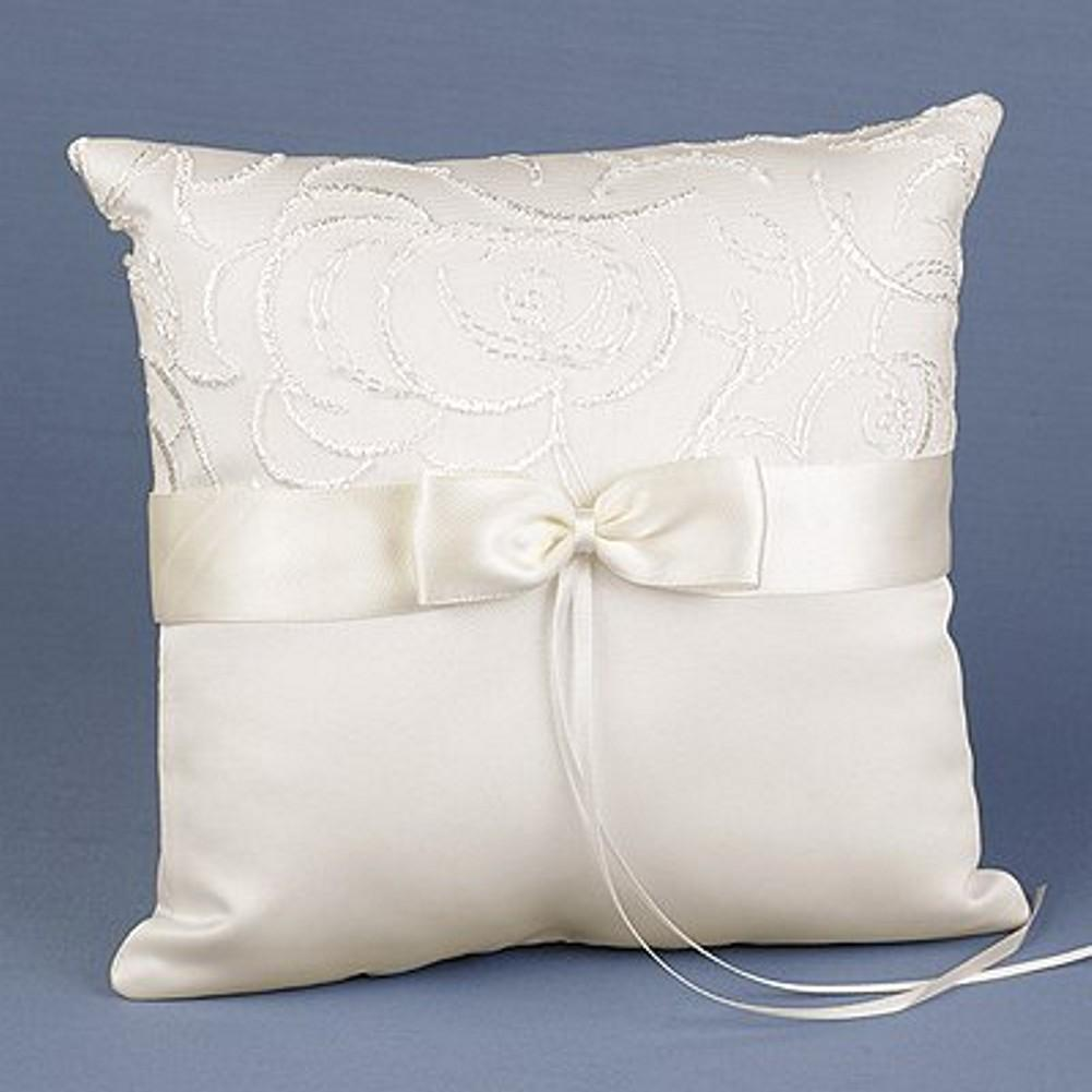 Beautiful Swirls Ivory Satin Ring Pillow, elegant ivory ring pillow, ivory satin ring pillow, ivory ring bearer pillow, ivory wedding accessories, Ring Pillows & Ring Boxes