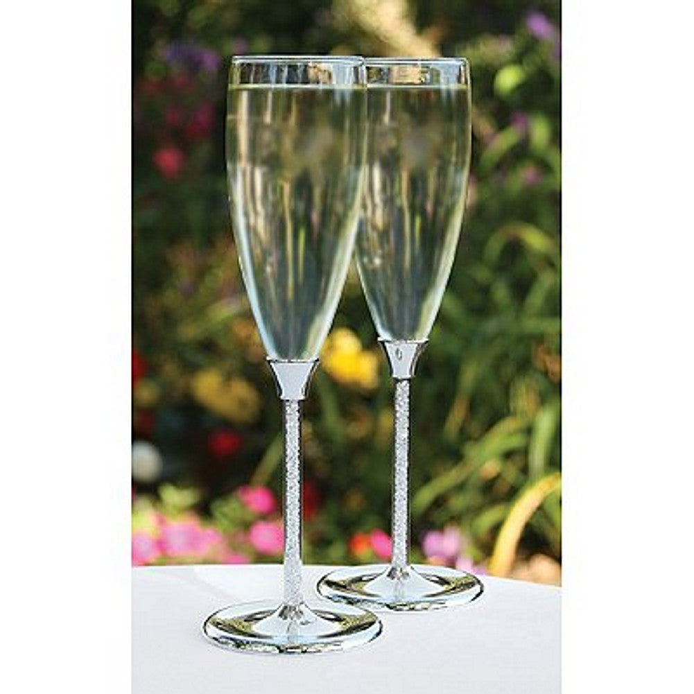 Glittering Beads Silver Accented Wedding Flutes, wedding toasting glasses, bride groom toasting glasses, silver toasting glasses, bride groom champagne flutes, Flutes and Glassware