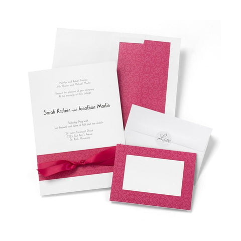 Fuchsia and White DIY Invitations Kit - Sophie's Favors and Gifts