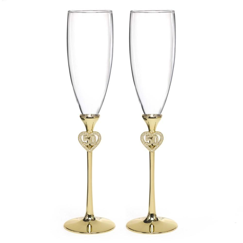 Jeweled 50th Anniversary Flutes with Brass Plated Stems and Rhinestone Studded Accents - Sophie's Favors and Gifts